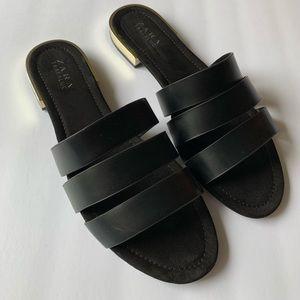 Black leather strap flat sandals